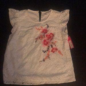 White lace shirt big girls size M